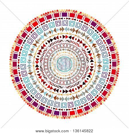 Round Aztec ornament. Decorative mandala with mix round ornaments. Bohemian style. Ornate medallion ethnic aztec pattern. Tribal ornament. Vector illustration.