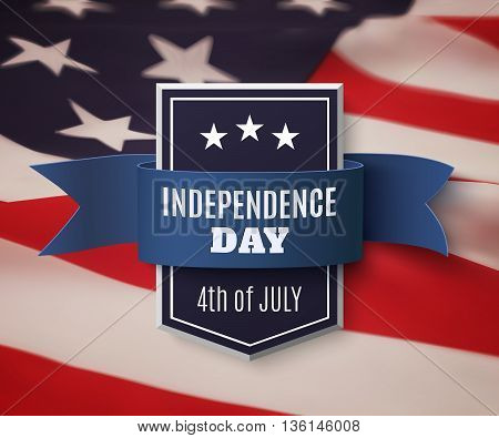 Independence Day, 4th of July background template. Badge with blue ribbon on top of American flag. Vector illustration.