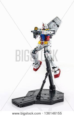 BANGKOK THAILAND - October 10 2015: Gundam RX-78-2 MASTER GRADE model 1/100. Gundam plastic model from Sunrise's anime series Mobile Suit Gundam.