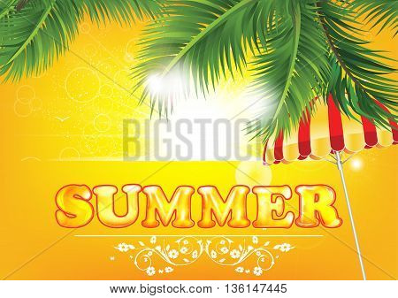 Summer background with palm leaves and beach umbrella (parasol).