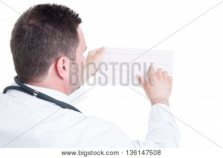 Male Medic Cardiologist Reading Ekg Cardiogram Paper