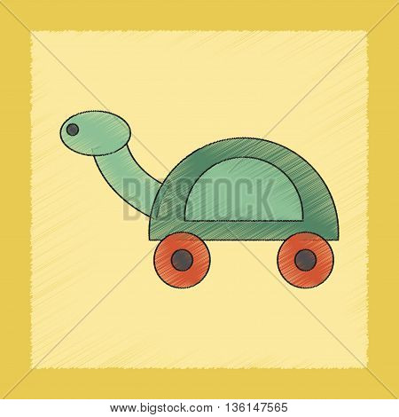 flat shading style icon Kids toy turtle