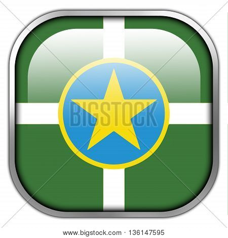 Flag Of Jackson, Mississippi, Square Glossy Button