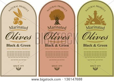 set of labels for black and green olives with a picture of a tree berries and bottles
