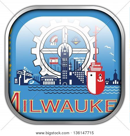 Flag Of Milwaukee, Wisconsin, Square Glossy Button