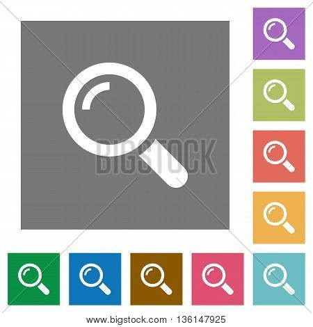 Magnifier flat icon set on color square background.