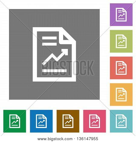 Report flat icon set on color square background.