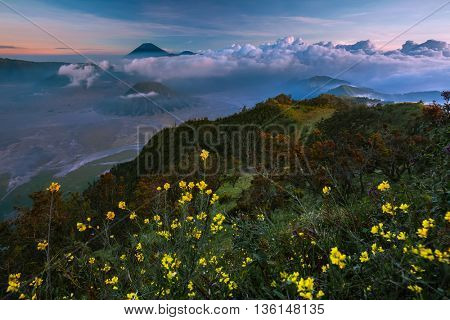 Sunset in a valley with active volcanoes. Java island, Indonesia