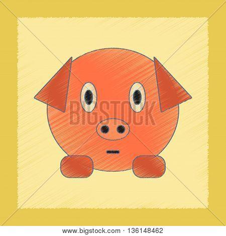 flat shading style icon Kids toy pig