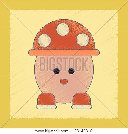 flat shading style icon Kids toy mushroom
