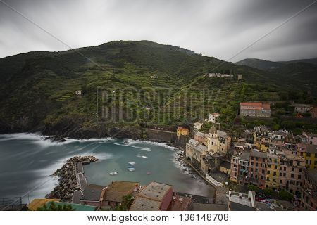 Vernazza (Cinque Terre) View of the City from Castello Doria in Italy (Long Exposure)