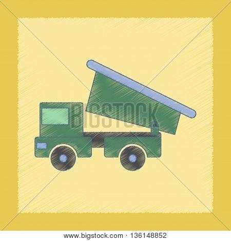 flat shading style icon Kids toy truck