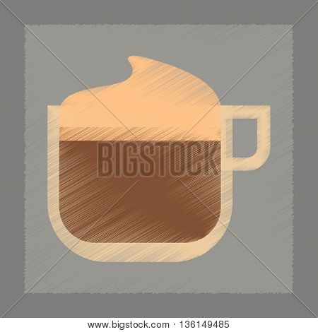 flat shading style icon coffee with milk cream