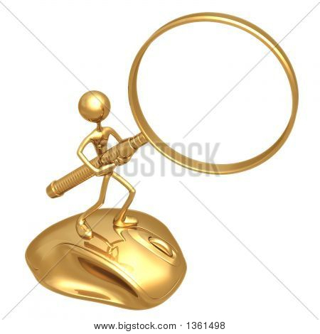 Internet Search On Mouse With Magnifying Glass Frame