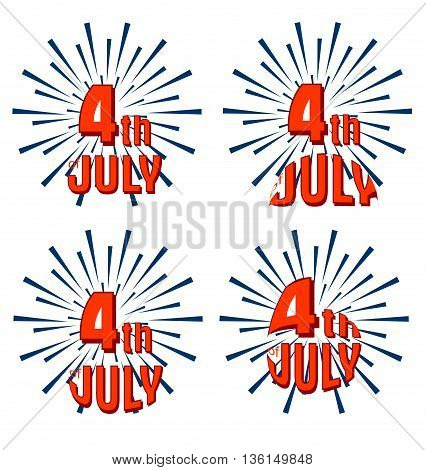 Set of 4th of July. United Stated independence day greeting.