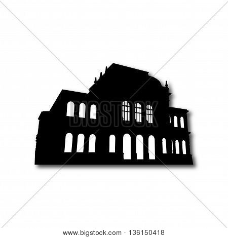 Black Silhouette of old building detailed vector