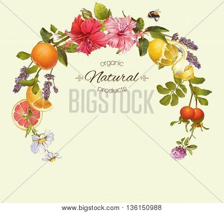 Vector natural round frame with hibiscus flowers, citrus fruits and rose hip. Design for tea, juice, natural cosmetics, baking, candy and sweets, grocery, health care products. With place for text.