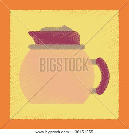 flat shading style icon coffee dishware kettle