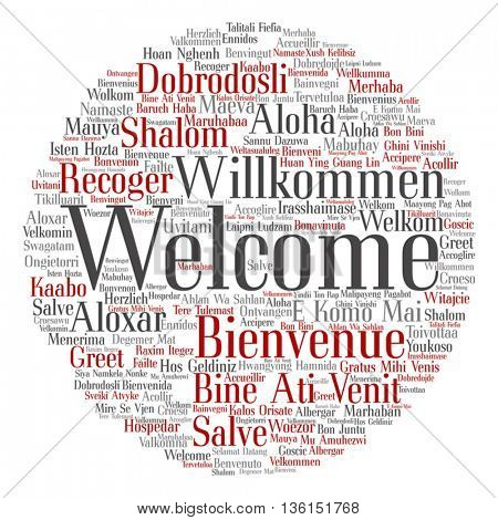 Vector concept or conceptual abstract round welcome or greeting international word cloud in different languages or multilingual isolated