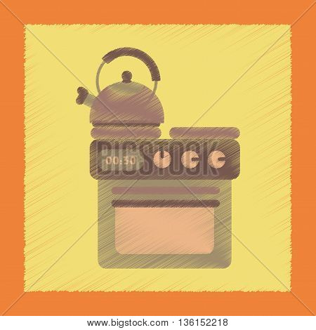 flat shading style icon coffee kettle stove