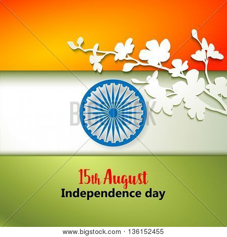 Indian Independence Day concept background with Ashoka wheel and flowers. Vector Illustration