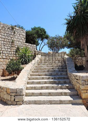 Natural stone stairs in an old fortification.