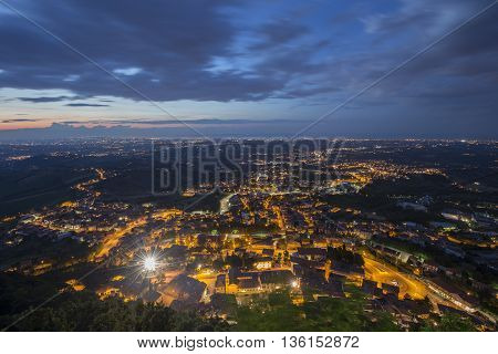 San Marino View from the Monte Titano at night