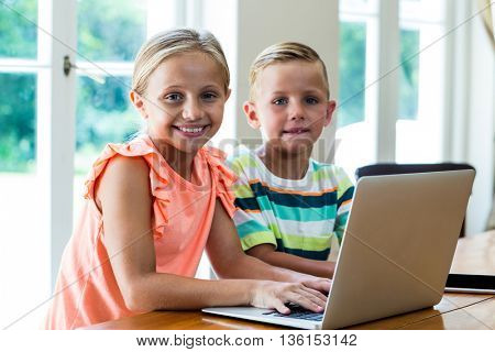 Portrait of smiling siblings using laptop while sitting at table