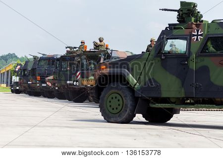 BURG / GERMANY - JUNE 25 2016: german military army convoy stands on open day in barrack burg / germany at june 25 2016