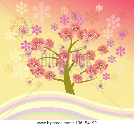 Vector spring background cherry blossom. Isolated beautiful cherry blossom tree.