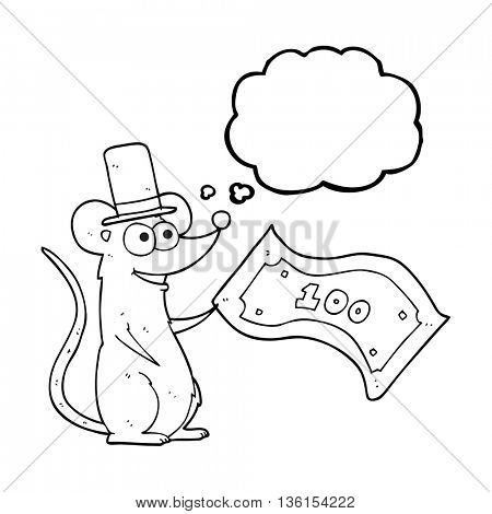 freehand drawn thought bubble cartoon rich mouse