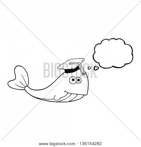 freehand drawn thought bubble cartoon whale graduate