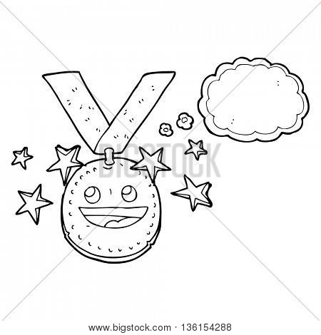 freehand drawn thought bubble cartoon happy sports medal
