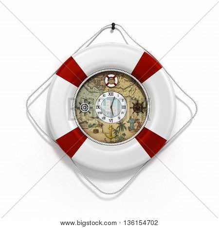Lifebuoy Decor In The Form Of Clock 3C Render On A White Background