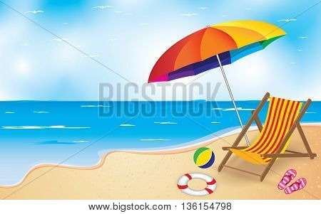 Beach and Umbrella and Chair. Summer Beach Background.