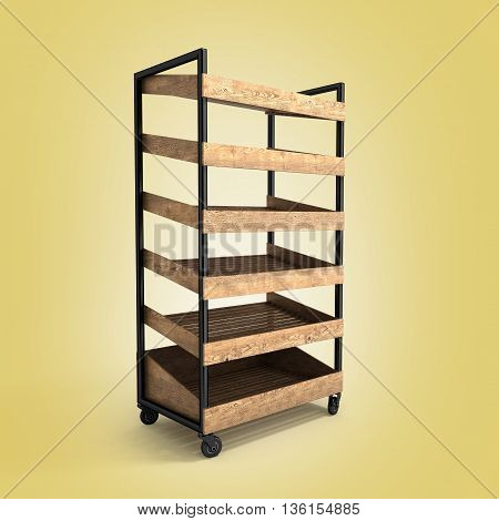 Shelves For Bread 3D Render On Gradient Background