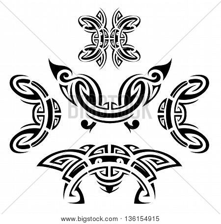 Set of ethnic tattoo shapes as design elements. Maori and Aztec origin