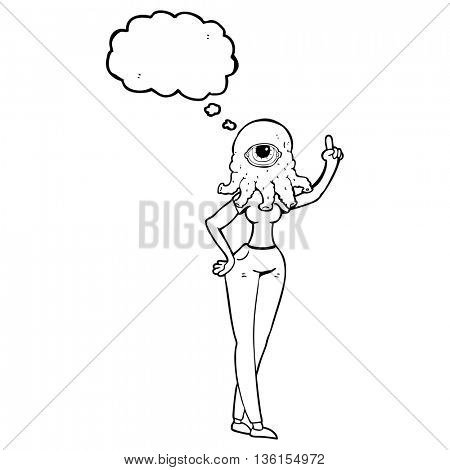 freehand drawn thought bubble cartoon female alien with raised hand
