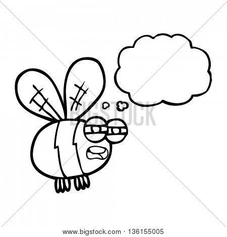 freehand drawn thought bubble cartoon bee