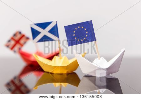 Paper Ship With European And Scots Flag