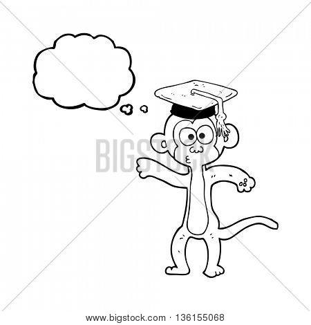 freehand drawn thought bubble cartoon graduate monkey