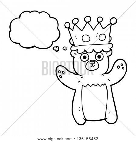 freehand drawn thought bubble cartoon teddy bear wearing crown