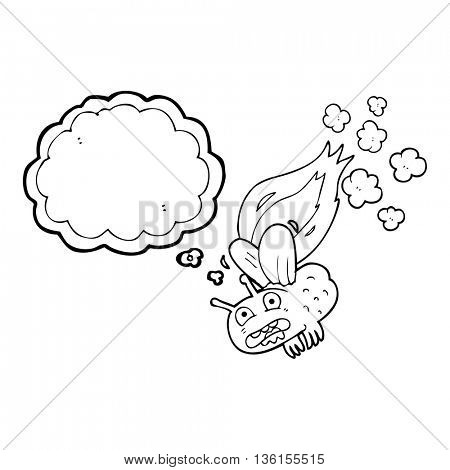 freehand drawn thought bubble cartoon fly crashign and burning