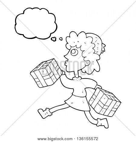 freehand drawn thought bubble cartoon running woman with presents