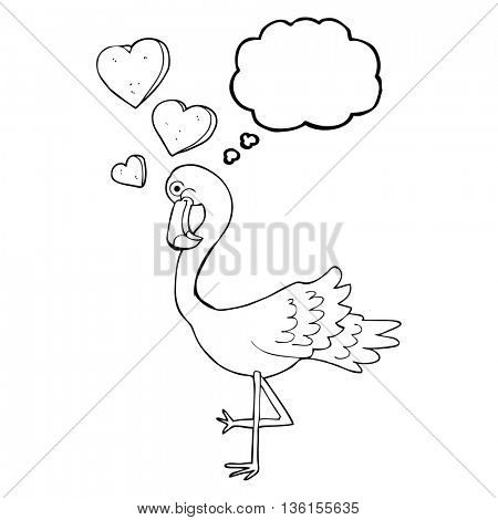 freehand drawn thought bubble cartoon flamingo in love