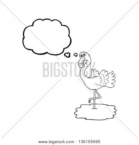 freehand drawn thought bubble cartoon flamingo