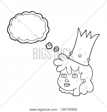 freehand drawn thought bubble cartoon queen with crown