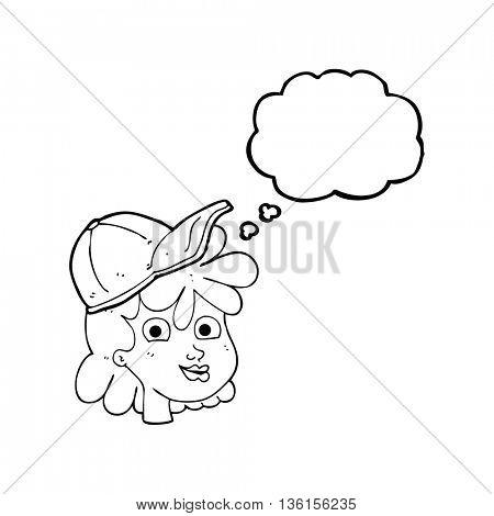 freehand drawn thought bubble cartoon woman wearing cap