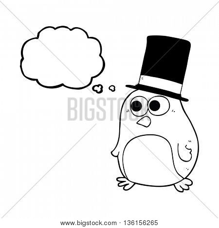 freehand drawn thought bubble cartoon bird wearing top hat