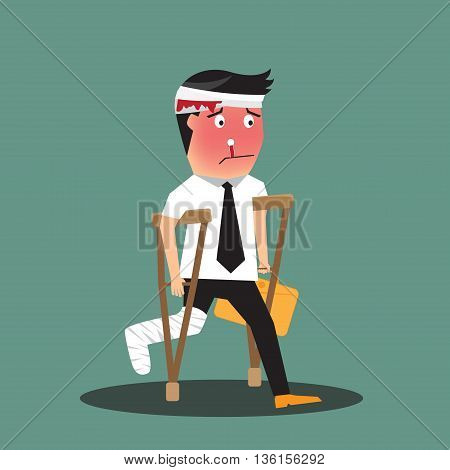 illustration of a badly injured businessman walking on crutches carrying a briefcase vector illustration.